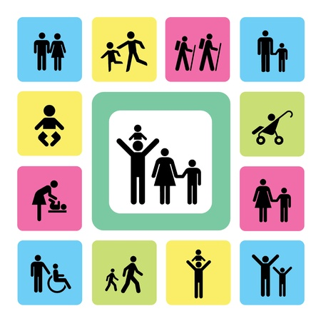 Family icon on isolated white background Stock Vector - 19555248