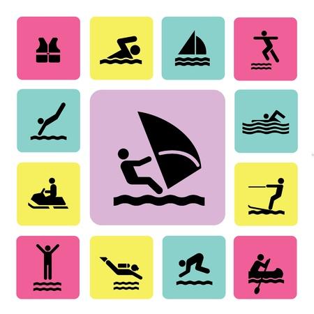 water sport icon for use Vektorové ilustrace