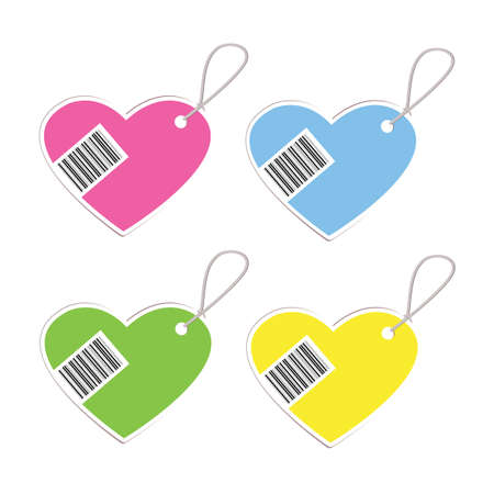 vecter: heart barcodes isolated on white background