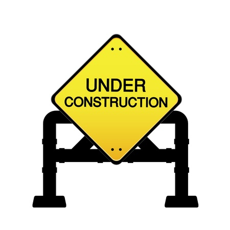 overhaul: sign under construction on white background