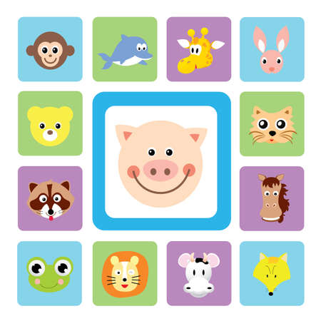 cartoon animal head icons for use Vector
