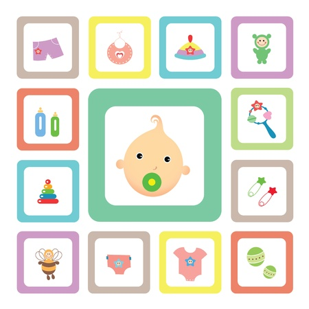 icon acessories set for baby Vector