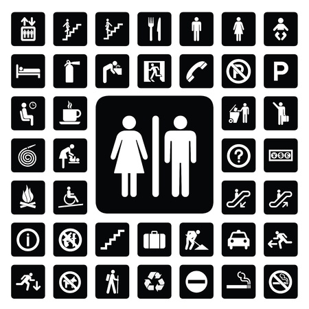 restroom sign: general icon for every place Illustration