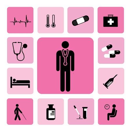 patient in bed: hospital de iconos conjunto de ilustraci?n