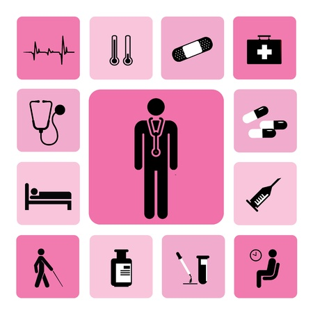 hospital bed: icons hospital set from Illustration