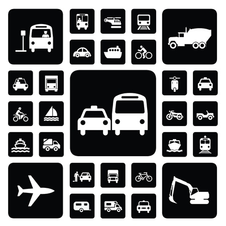 transportation icons: Icon traffic set black and white Illustration