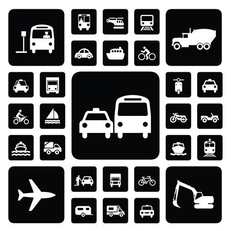 train icone: trafic Icon set en noir et blanc Illustration