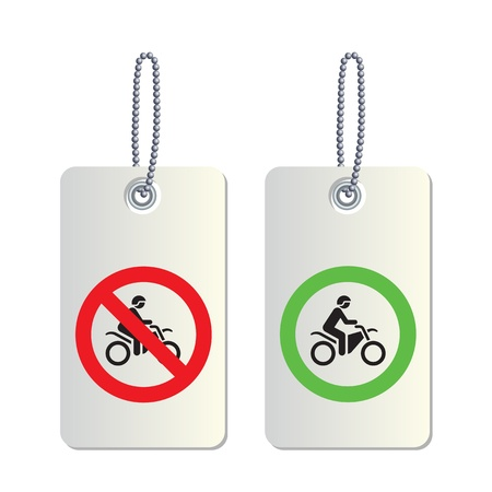 no overtaking: Motorcycle signs on white background Illustration