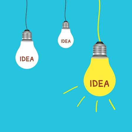 light bulb idea on blue background Stock Vector - 19555553