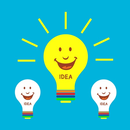 light bulb idea on blue background Stock Vector - 19555265