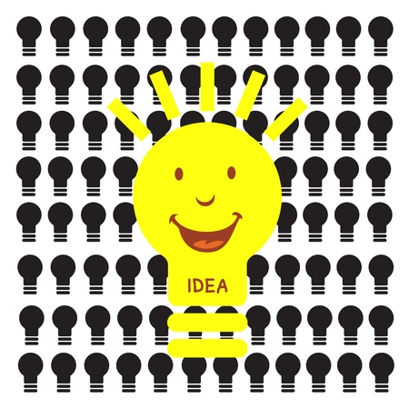 light bulb idea on blue background Stock Vector - 19555458