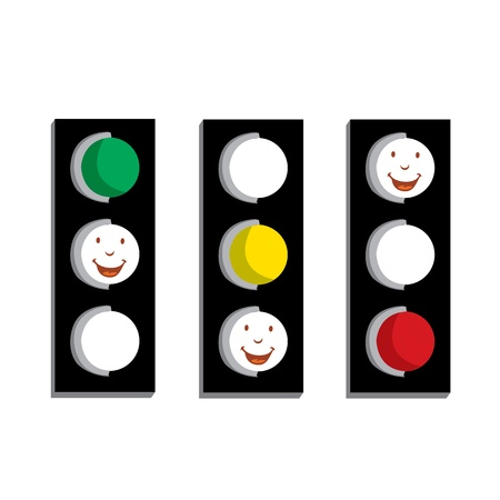 traffic lights showing red green and red isolated on white background Vector