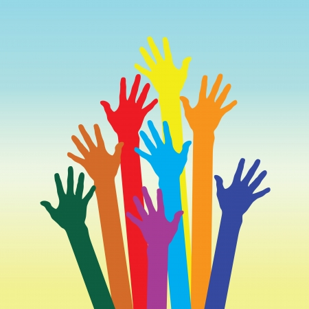 warm colorful up hands for use Illustration