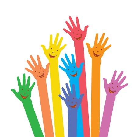 manos levantadas al cielo: c�lidas manos de colores en el fondo blanco