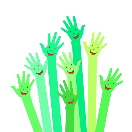 purple colorful up hands on white background Vector