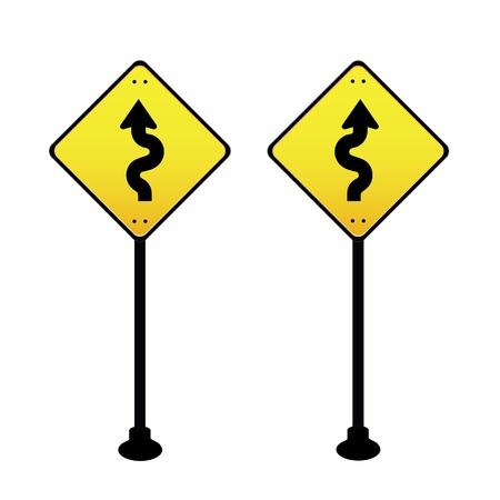 road sign curves ahead warning Vector