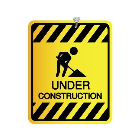 overhaul: segno in costruzione su sfondo bianco Vettoriali