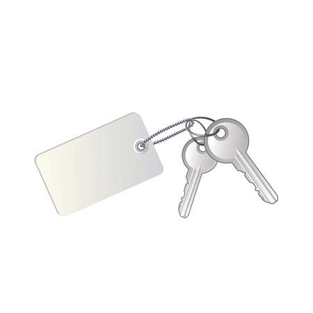 Keys with label on white background Stock Vector - 19555686