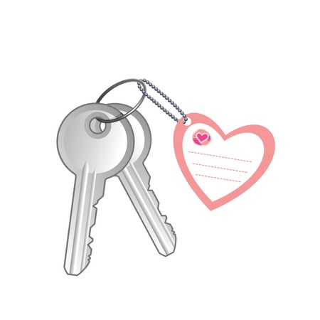 Keys with label on white background Stock Vector - 19555645