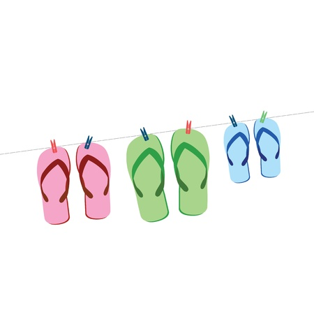 sandals set  on white background Vector
