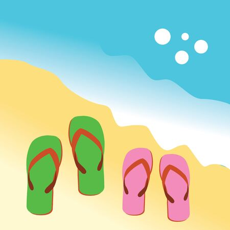two sandals  on the beach Vector