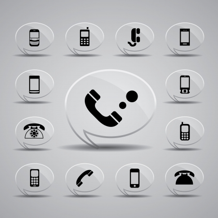 phone button: icon web set for use Illustration