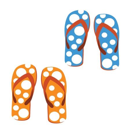 honey moon: set sandals  on white background Illustration
