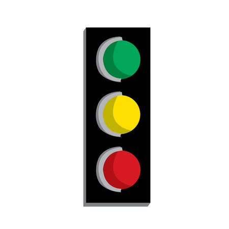way to go: traffic lights showing red green and red isolated on white background