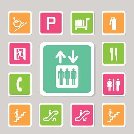 fire ring: iconos centros comerciales establecidos para usr Vectores