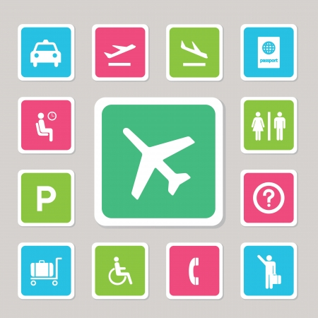 parking ticket: Airport icons set for use