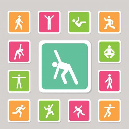 gimnasia aerobica: ejercicio de la acci�n icono para su uso Vectores