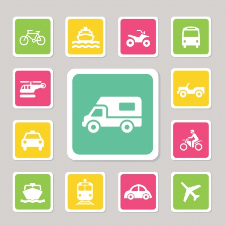 Icon Set Traffic on  Isolated white background