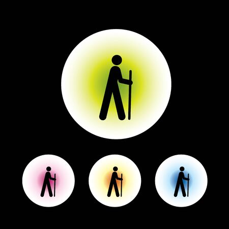 physically: icon set in black background for use