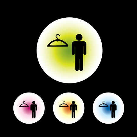 changing room: icon set in black background for use