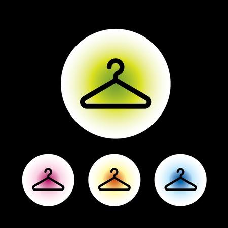 kleedkamer: icon set in zwart achtergrond voor gebruik Stock Illustratie