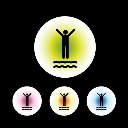 backstroke: icon set in black background for use