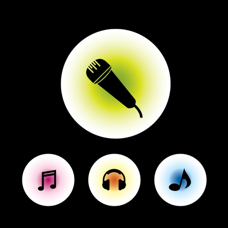 icon set in black background for use Stock Vector - 20864164