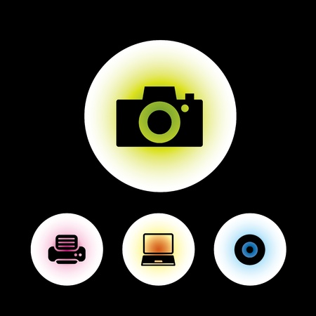 icon set in black background for use Stock Vector - 20864171