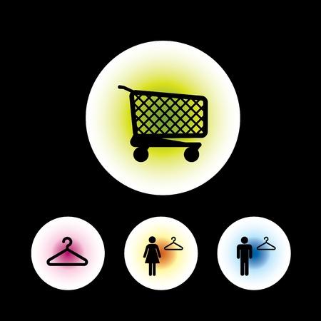 kleedkamer: icon set in zwarte achtergrond voor gebruik