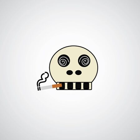 Skull with a cigarette on gray background Vector