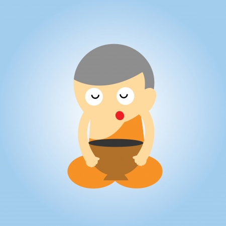 monk vector cartoon style for use Vector
