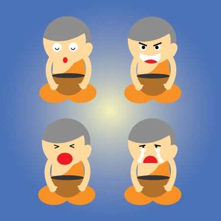 rampage: monk vector cartoon style for use