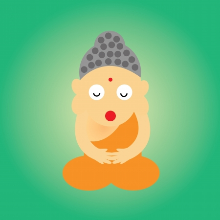 Buddhist monk vector cartoon style for use Vector