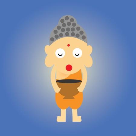 novice: monk vector cartoon style for use
