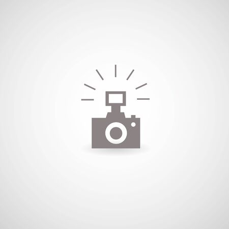 camera symbol on gray background Vector