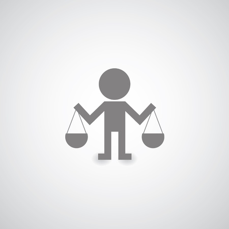 convicted: justice symbol on gray background Illustration