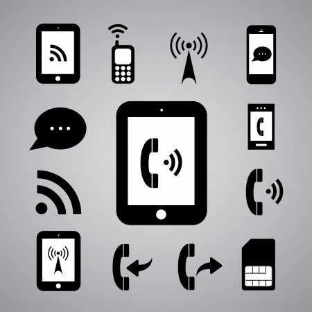 wifi access: technology symbol on gray background Illustration