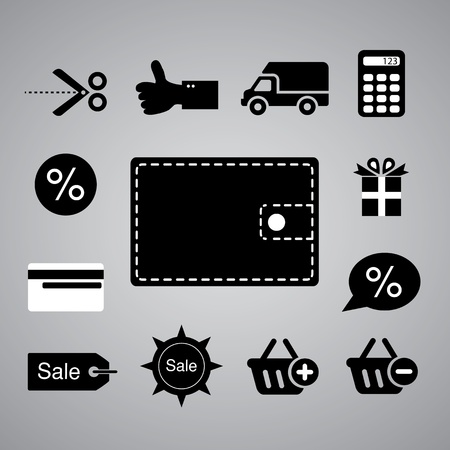Shopping symbol on gray background Stock Vector - 21569112