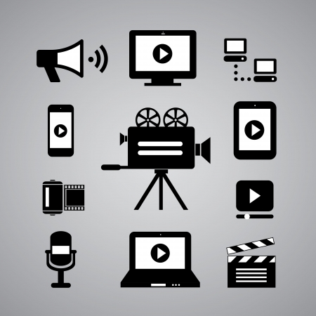 media player: media symbol on gray background