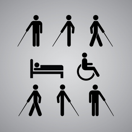 wheelchair: Disability symbol on gray background Illustration